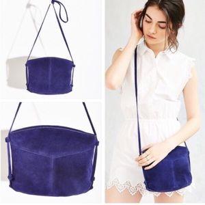 Blue suede crossbody bag
